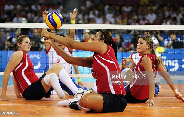 Katie Holloway of the United States plays during the Sitting Volleyball match between China and the United States at the China Agricultural...