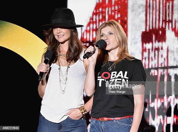 Katie Holmes and Connie Britton speak onstage at the 2014 Global Citizen Festival to end extreme poverty by 2030 in Central Park on September 27 2014...