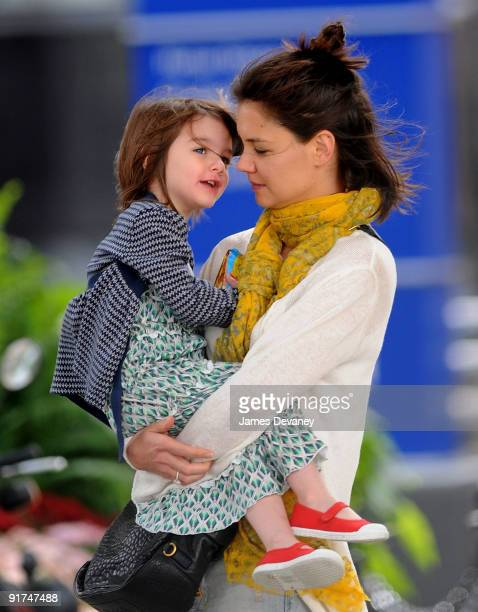 Katie Holmes and daughter Suri Cruise seen on the streets of Boston on October 10 2009 in Boston Massachusetts
