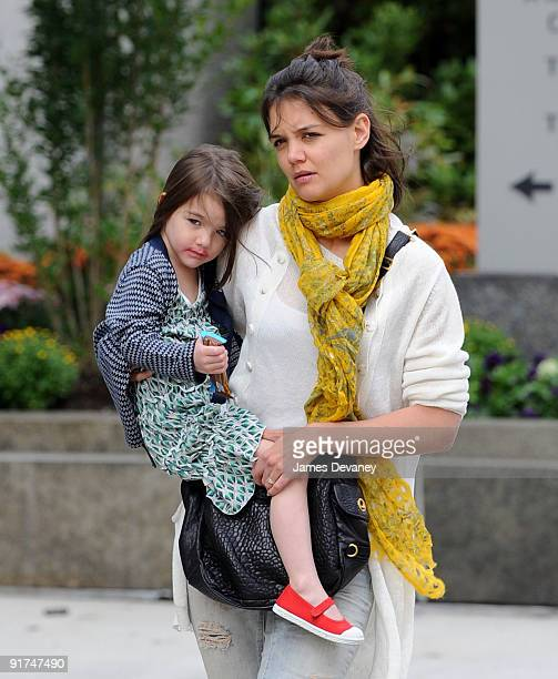 Katie Holmes and daughter Suri Cruise seen on the streets of Boston on October 10, 2009 in Boston, Massachusetts.