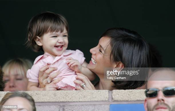 Katie Holmes and daughter Suri watch the LA Galaxy vs Chelsea FC soccer game July 22 2007 at the Home Depot Center in Carson California