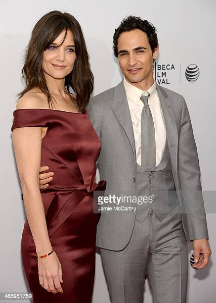 Katie Holmes and designer Zac Posen attend the Miss Meadows Premiere during 2014 Tribeca Film Festival at the SVA Theater on April 21 2014 in New...