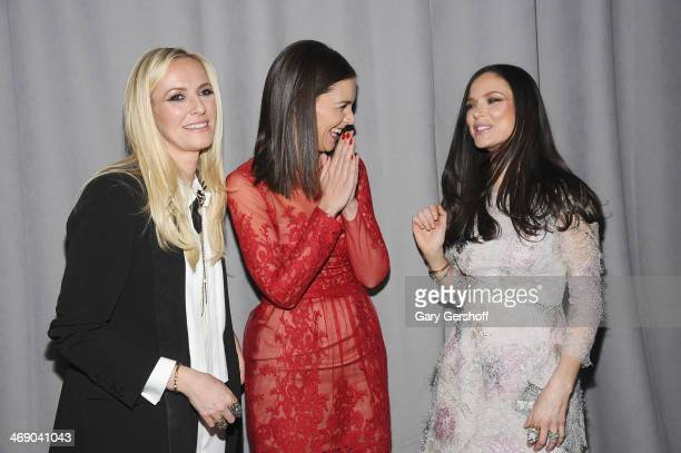 Katie Holmes and designers Keren Craig and Georgina Chapman attend the Marchesa Show during MercedesBenz Fashion Week Fall 2014 at New York Public...