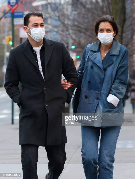 Katie Holmes and Emilio Vitolo Jr are seen on January 13, 2021 in New York City, New York.