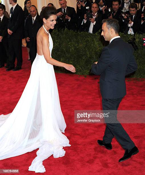 Katie Holmes and Fashion designer Calvin Klein womens collection Francisco Costa attend the Costume Institute Gala for the PUNK Chaos to Couture...