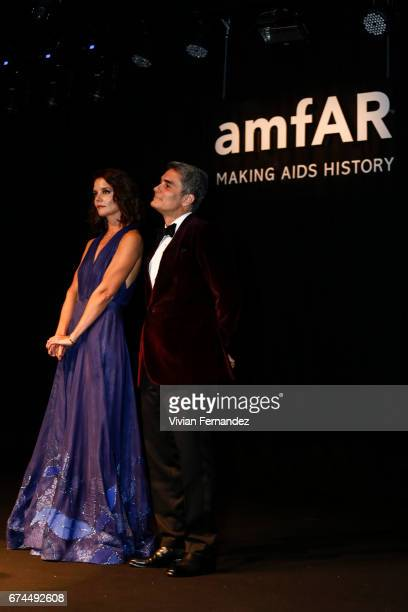 Katie Holmes and Felipe Diniz attend the 7th Annual amfAR Inspiration Gala on April 27 2017 in Sao Paulo Brazil
