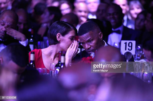 Katie Holmes and Jamie Foxx attend the Clive Davis and Recording Academy PreGRAMMY Gala and GRAMMY Salute to Industry Icons Honoring JayZ on January...