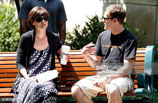 Katie Holmes and Jonny Lee Miller on location for Eli Stone filming on July 18 2008 in Los Angeles California
