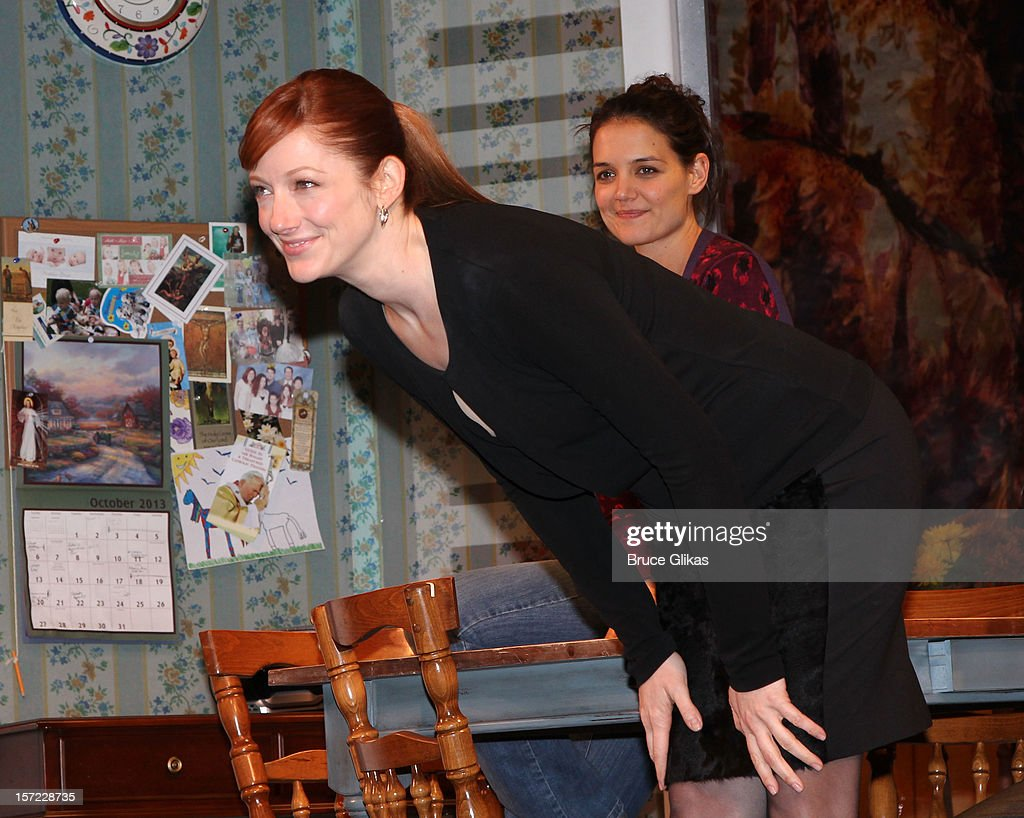 Katie Holmes and Judy Greer take their curtain call on Opening Night of 'Dead Accounts' on Broadway at The Music Box Theatre on November 29, 2012 in New York City.