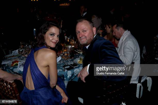 Katie Holmes and Kevin Frost attend the 7th Annual amfAR Inspiration Gala on April 27 2017 in Sao Paulo Brazil