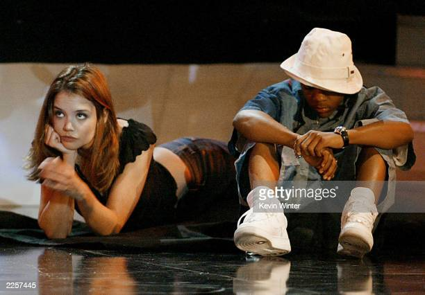 Katie Holmes and Lil Bow Wow at the 2002 MTV Movie Awards held at the Shrine Theatre in Los Angeles Ca June 1 2002