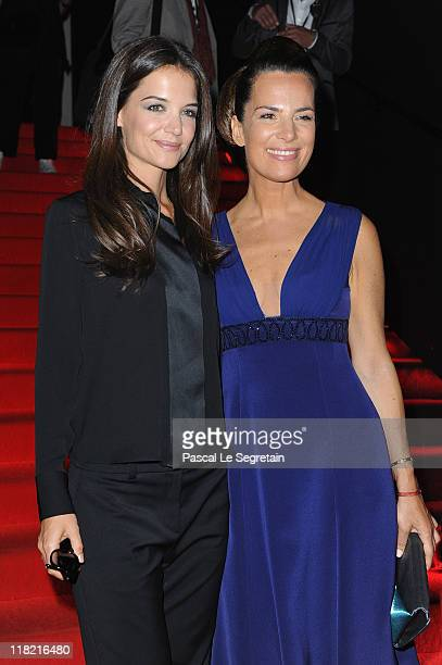 Katie Holmes and Roberta Armani attend the Giorgio Armani Prive Haute Couture Fall/Winter 2011/2012 show as part of Paris Fashion Week at Palais de...