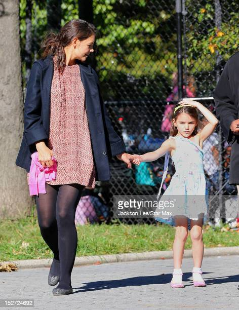 Katie Holmes and Suri Cruise are seen at a playground in Brooklyn on September 23 2012 in New York City