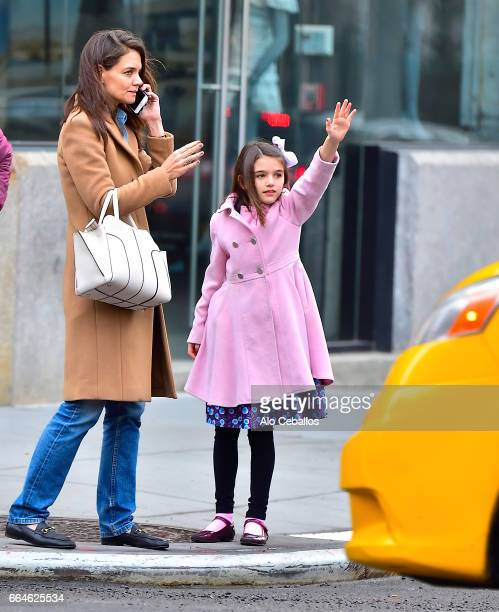 Katie Holmes and Suri Cruise are seen in the Meat Packing District on April 4 2017 in New York City