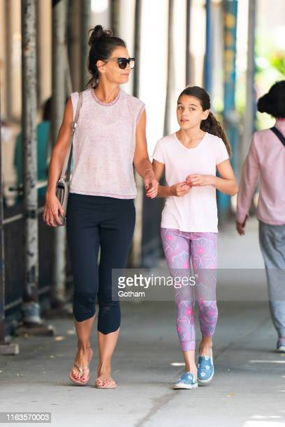 Katie Holmes and Suri Cruise are seen in the Upper West Side on July 22, 2019 in New York City.