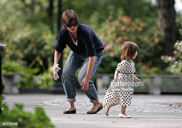Katie Holmes and Suri Cruise are seen on the streets of Manhattan on August 7 2008 in New York City New York