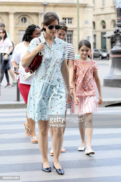 Katie Holmes and Suri Cruise are seen strolling near Le Louvre museum on July 1 2018 in Paris France