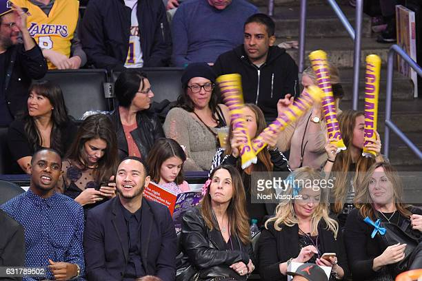Katie Holmes and Suri Cruise attend a basketball game between the Detroit Pistons and the Los Angeles Lakers at Staples Center on January 15 2017 in...