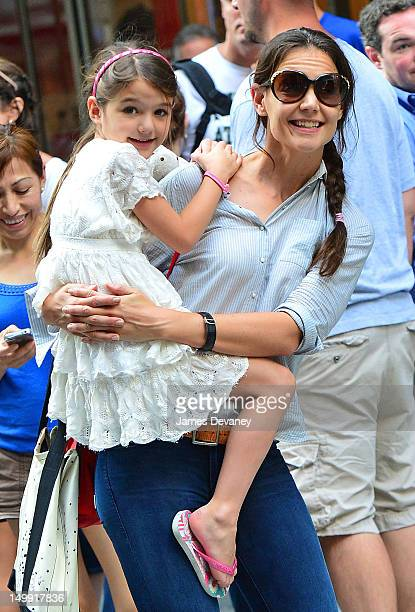 Katie Holmes and Suri Cruise leave Museum of Modern Art on August 6 2012 in New York City