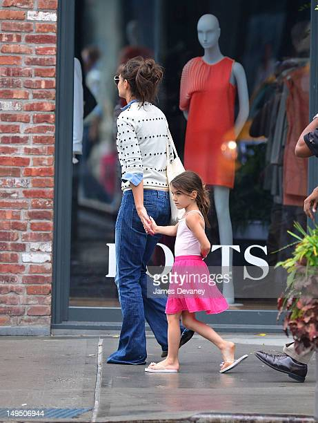 Katie Holmes and Suri Cruise seen leaving Pastis in the Meatpacking District on July 29 2012 in New York City