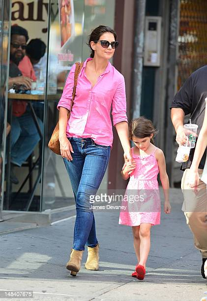 Katie Holmes and Suri Cruise seen on Streets of Manhattan on July 15 2012 in New York City