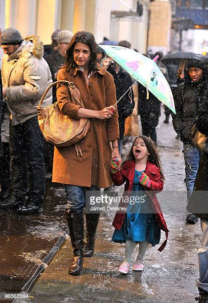 Katie Holmes and Suri Cruise seen on the streets of Manhattan on February 10 2010 in New York City