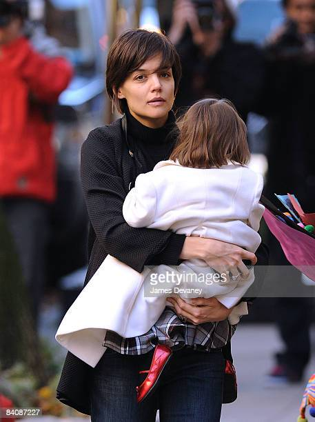 Katie Holmes and Suri Cruise seen on the streets of Manhattan on December 18 2008 in New York City