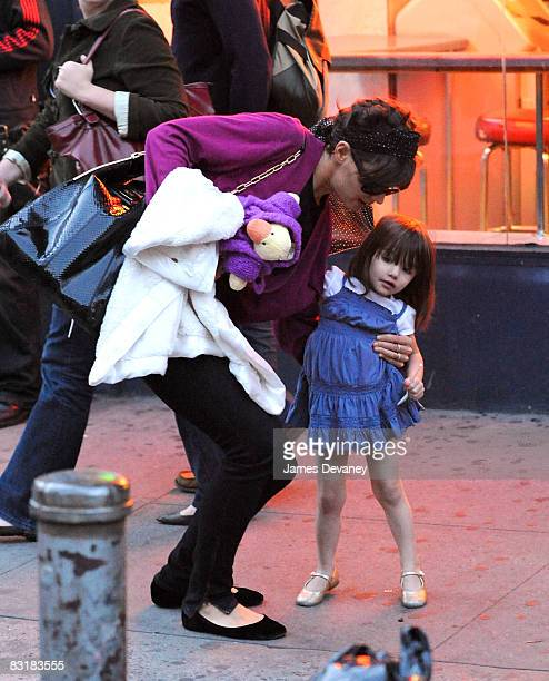 Katie Holmes and Suri Cruise seen on the streets of Manhattan on October 8 2008 in New York City