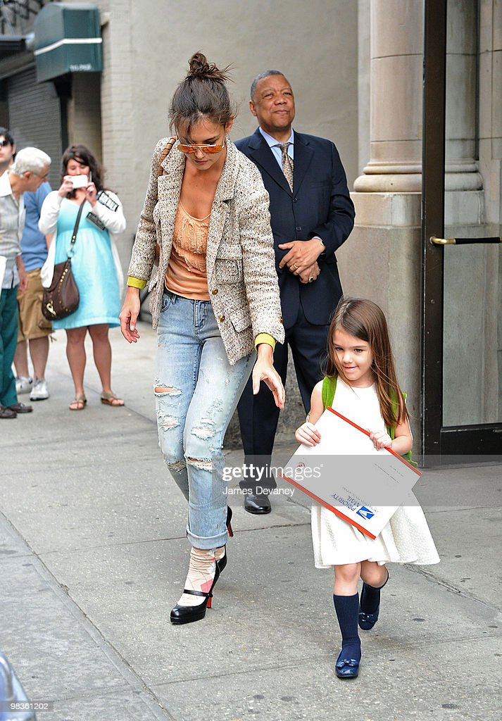 Katie Holmes and Suri Cruise seen on the streets of Manhattan on April 8, 2010 in New York City.