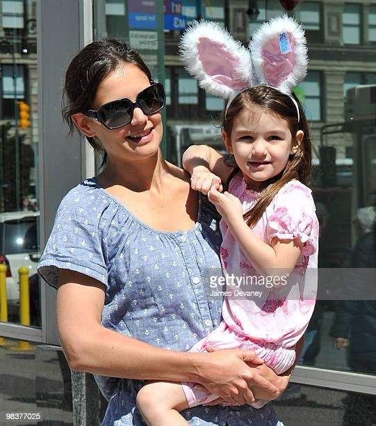 Katie Holmes and Suri Cruise seen walking around Union Square on April 10 2010 in New York City
