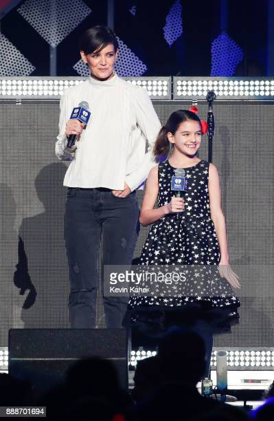 Katie Holmes and Suri Cruise speak onstage during Z100's iHeartRadio Jingle Ball 2017 at Madison Square Garden on December 8 2017 in New York City