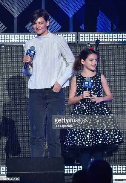 Katie Holmes and Suri Cruise speak performs onstage at the Z100's Jingle Ball 2017 on December 8 2017 in New York City