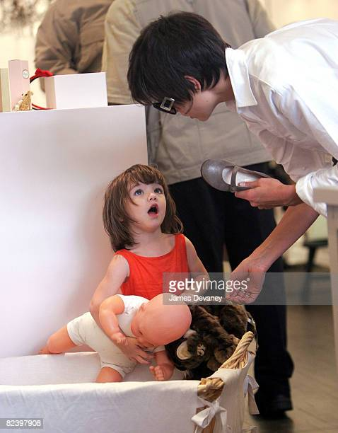 Katie Holmes and Suri Cruise visit Bonpoint childrens store in West Village on August 17 2008 in New York City