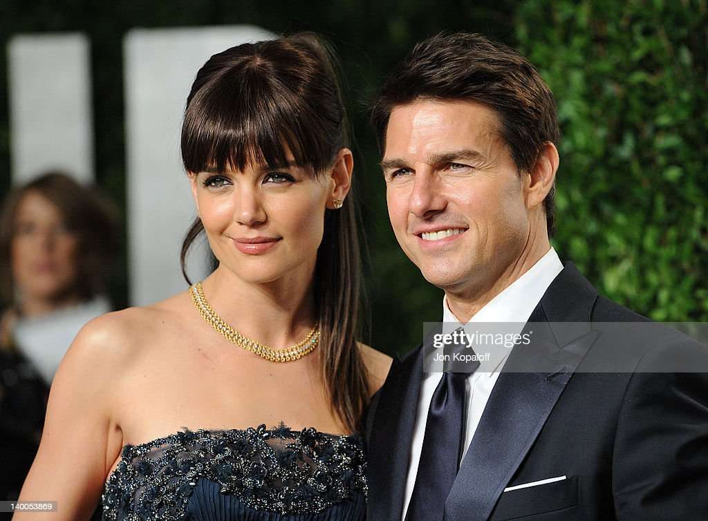 Katie Holmes and Tom Cruise attend the 2012 Vanity Fair Oscar Party at Sunset Tower on February 26, 2012 in West Hollywood, California.