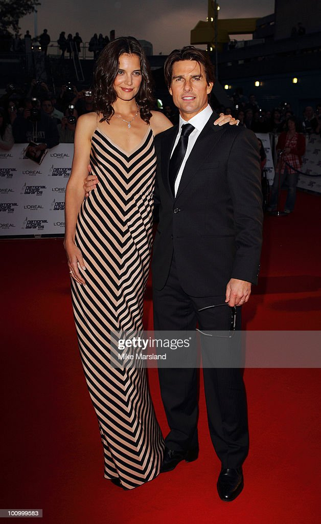 Katie Holmes and Tom Cruise attend the National Movie Awards 2010 at the Royal Festival Hall on May 26, 2010 in London, England.