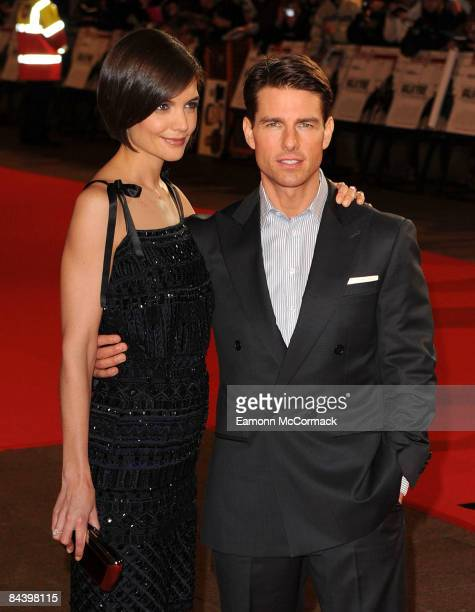 Katie Holmes and Tom Cruise attend the UK premiere of Valkyrie at Odeon Leicester Square on January 21 2009 in London England