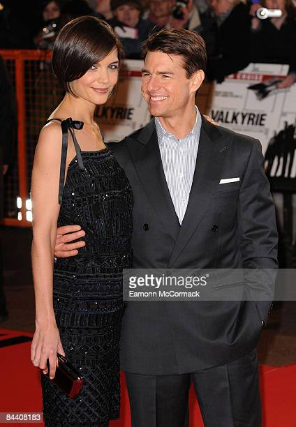 Katie Holmes and Tom Cruise attend the UK premiere of Valkyrie at Odeon Leicester Square on January 21, 2009 in London, England.