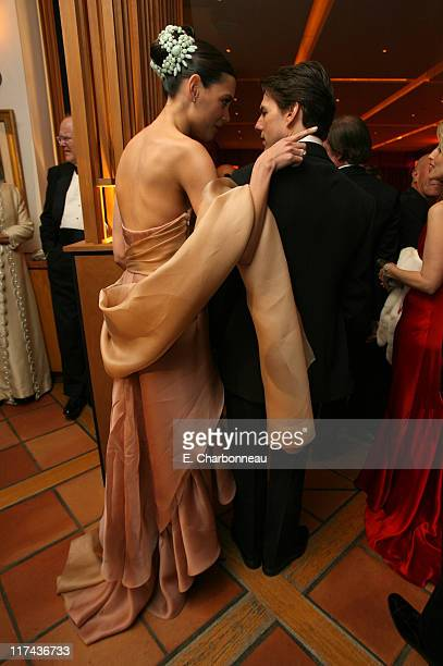 Katie Holmes and Tom Cruise during 2007 Vanity Fair Oscar Party Hosted by Graydon Carter Inside at Mortons in West Hollywood California United States