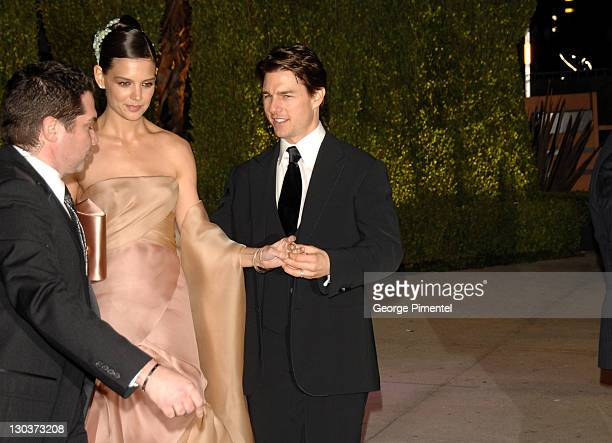 Katie Holmes and Tom Cruise during 2007 Vanity Fair Oscar Party Hosted by Graydon Carter Arrivals at Mortons in West Hollywood California United...