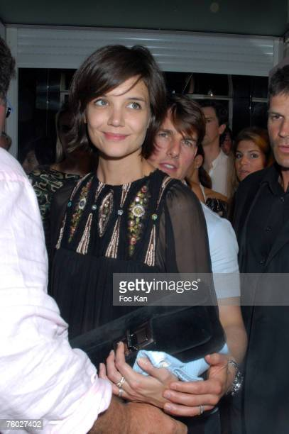 Katie Holmes and Tom Cruise leave the Clara Morgan Party At The VIP Room on Aug 03 2007 in St Tropez France
