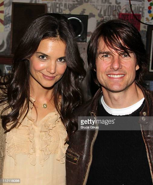COVERAGE* Katie Holmes and Tom Cruise pose backstage at the hit musical written by Green Day 'American Idiot' on Broadway at The St James Theater on...