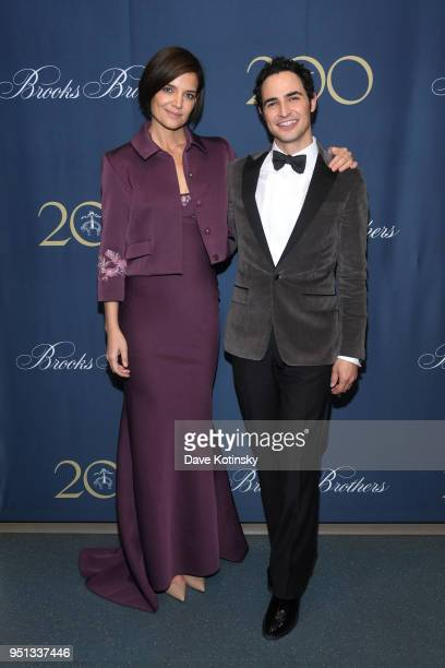 Katie Holmes and Zac Posen attend the Brooks Brothers Bicentennial Celebration at Jazz At Lincoln Center on April 25 2018 in New York City