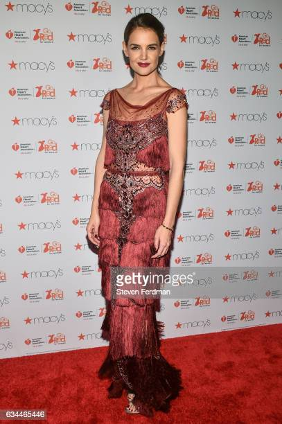 Katie Holmes arrives at American Heart Association's Go Red For Women Red Dress Collection during New York Fashion Week at Hammerstein Ballroom on...