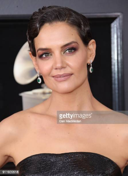 Katie Holmes arrives at the 60th Annual GRAMMY Awards at Madison Square Garden on January 28 2018 in New York City