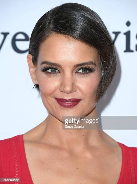 Katie Holmes arrives at the Clive Davis and Recording Academy PreGRAMMY Gala on January 27 2018 in New York City