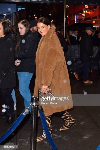 Katie Holmes arrives at the Madison Square Garden for Jingle Ball on December 13, 2019 in New York City.