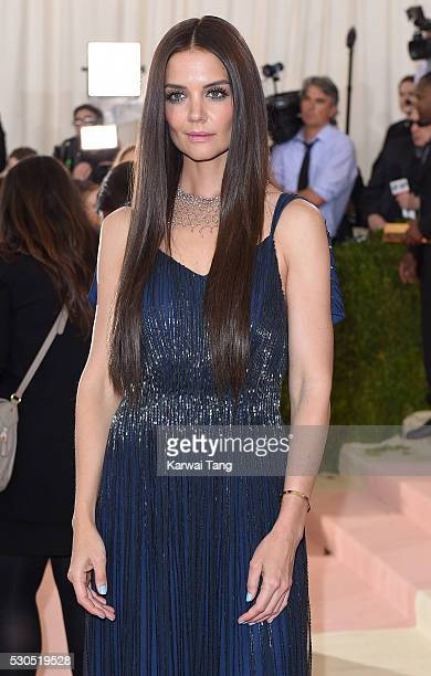 Katie Holmes arrives for the 'Manus x Machina Fashion In An Age Of Technology' Costume Institute Gala at Metropolitan Museum of Art on May 2 2016 in...