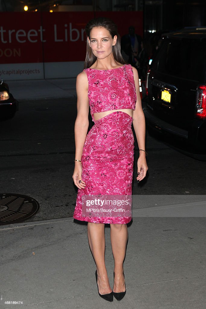 Katie Holmes arriving for the New York premiere of Woman in Gold on March 30, 2015 in New York City.