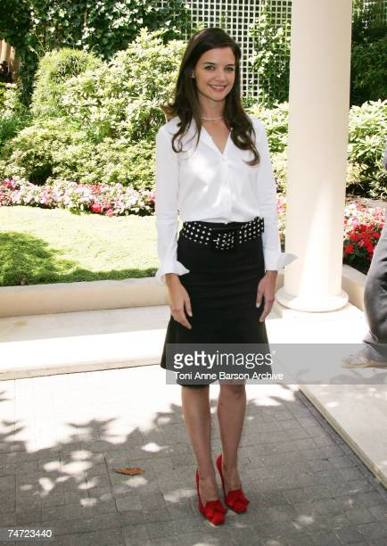 Katie Holmes at the Bristol Hotel in Paris, France.