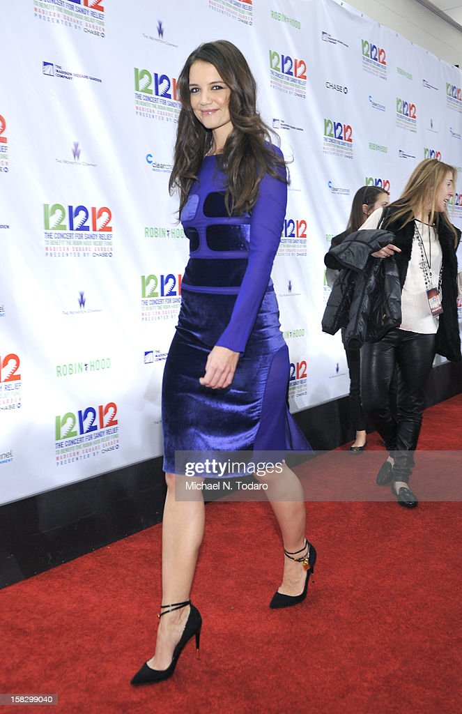 Katie Holmes attends 12-12-12 the Concert for Sandy Relief at Madison Square Garden on December 12, 2012 in New York City.